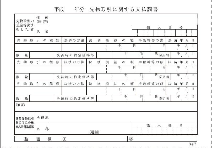 CFD,FX,くりっく365,商品先物,有価証券先物取引を行ったときに税務署に提出される支払い調書