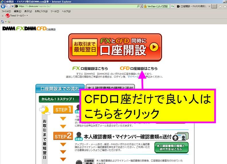 DMM FX口座かDMM CFD口座開設かを選択する